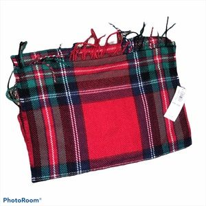 Nwt red & green plaid blanket scarf nwt